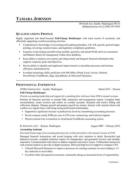 Bookkeeping Resume Exle by Sle Bookkeeping Resume Vvengelbert Nl