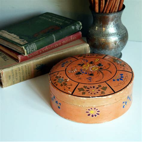 vintage papier mache box   japan  peach colored
