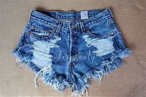 Distressed Grunge High waisted denim shorts | byJeansOnly - Handcrafted Jeans