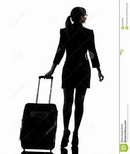 Rear View Business Woman Traveling Walking Silhouette ...