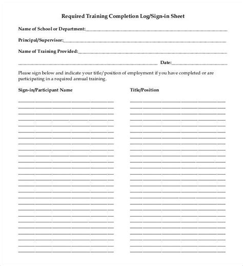 training completion sign off sheet template 75 sign in sheet templates doc pdf free premium