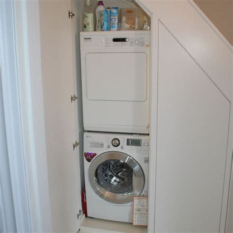 Tumble Dryer In Cupboard by Stairs European Laundry Home Decor Ideas