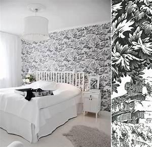 Toile De Mur : papier peint toile de jouy noir et blanc toile de jouy pinterest toile de jouy papier ~ Teatrodelosmanantiales.com Idées de Décoration