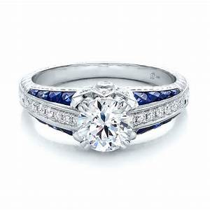 diamond and blue sapphire engagement ring 100390 With diamond and sapphire wedding rings
