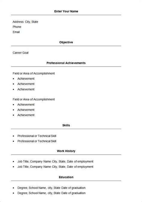 Free Resume Templates In Word by Basic Resume Template 51 Free Sles Exles Format