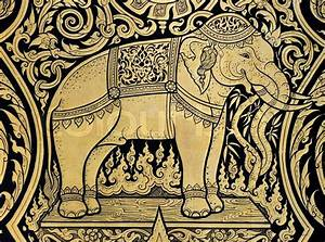 Elephant painting in tradition Thai style | Stock Photo ...