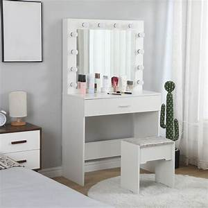 Sunyuan, Vanity, Set, With, Lighted, Mirror, Makeup, Dressing, Table, With, 12, Led, Dimmable, Bulbs, Makeup