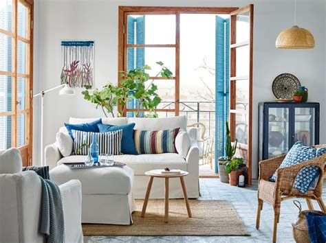 ikea wohnzimmer le petit s 233 jour bleu et blanc avec un canap 233 2 places f 196 rl 214 v blanc le salon ikea en 2019 salon