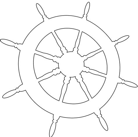 Boat Wheel Outline by Ship Wheel Silhouette Free Vector Silhouettes