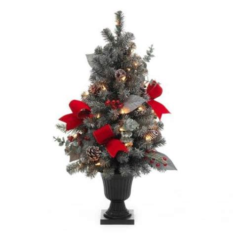 32 in snowy flocked potted artificial christmas tree with