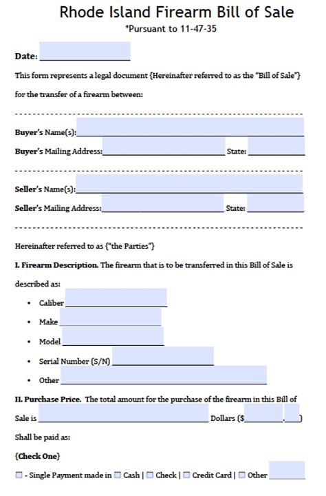 rhode island firearmgun bill  sale form