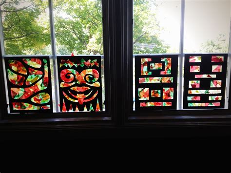 tissue paper faux stained glass window craft  preschool