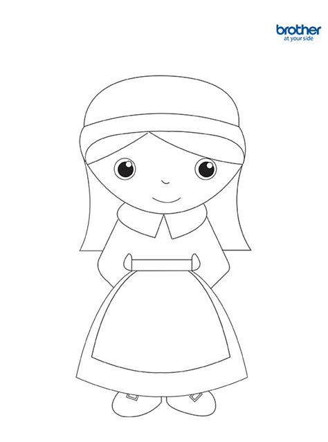 printable girl pilgrim coloring creative center