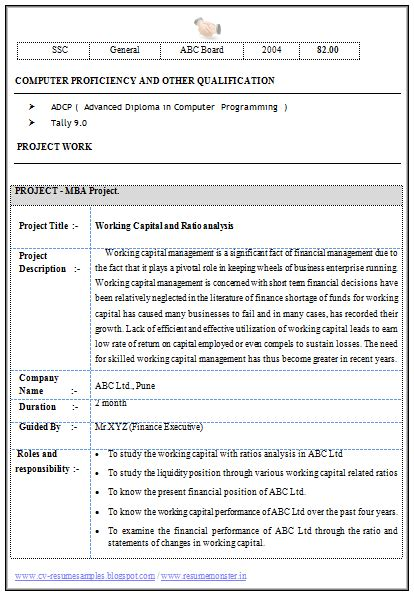 mba finance resume sle for experience 2 career