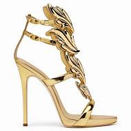 ef1595ca344dc1 Hot Sale Golden Metal Wings Leaf Strappy Dress Sandal Silver Gold Red  Gladiator High Heels Shoes