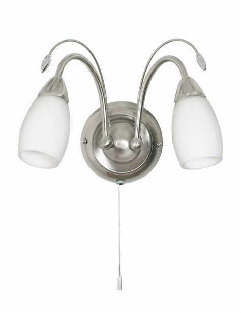 satin chrome double wall light with pull cord switch and opal glass shades ebay