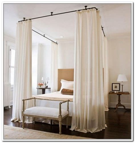 17 best ideas about curtain rod canopy on bed