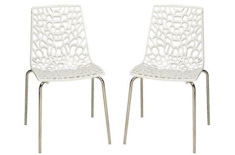 chaises blanches pas cher lot de 2 chaises blanches traviata chaises design pas cher