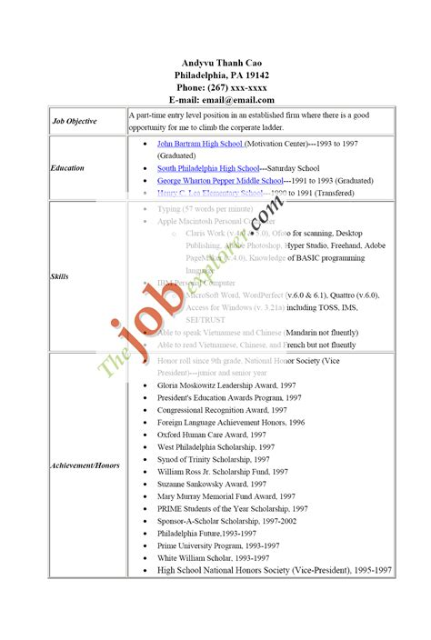 resume high school graduate no work experience template