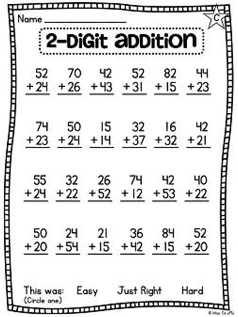 1st grade math worksheet 2 digit addition grade math unit 13 for 2 digit addition and