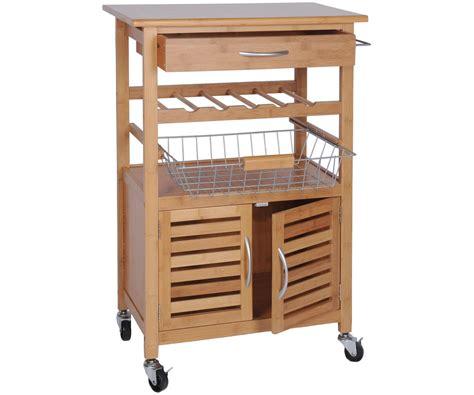 meuble de rangement de cuisine desserte de cuisine bambou massif meuble luxe a roulettes
