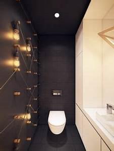 salle de bain noir et bois avec plan vasque en bois With carrelage adhesif salle de bain avec led light guide