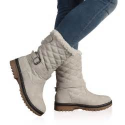 womens boots wholesale uk dd15 womens quilted faux fur grip sole winter boots shoes size 5 10 ebay