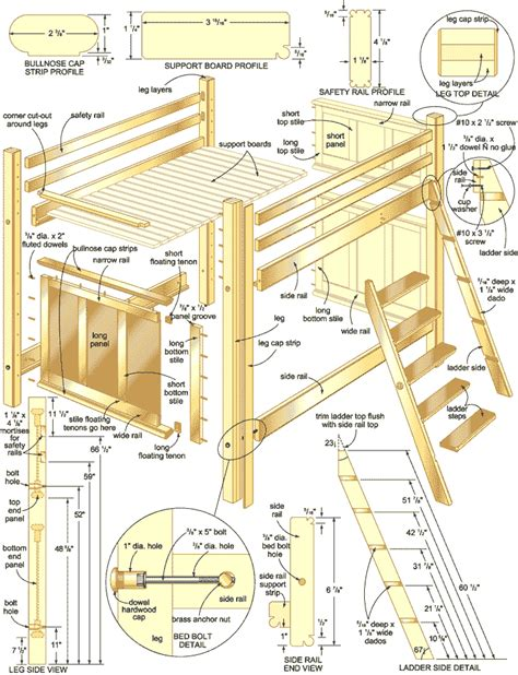 woodwork loft bunk bed plans  plans