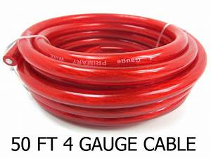 4 Gauge 50 U2019 Wire Superflex Amplifier Red Ga 4 Amp Power   Ground Cable 50 Ft