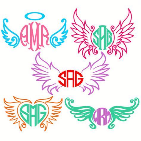 wings angel monogram frame svg cuttable designs
