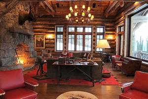 Red Leather Couch Living Room Rustic With Round Logs Log Home