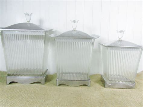 Clear Glass Kitchen Canister Sets by Canisters Vintage Canisters Clear Glass Canister Set