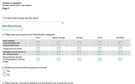 Student Feedback Form Template Word