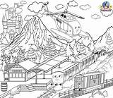 Coloring Pages Train Helicopter Worksheets Rescue Station Thomas Printable Island Sodor Tank Engine Drawing Friends Activities Games Colouring Military Fire sketch template