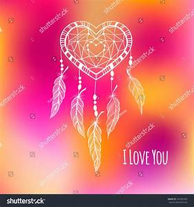 Lace Heart Shape Dream Catcher Valentines Stock Vector ...