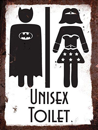 vintage metal wall sign superhero unisex toilet amazon