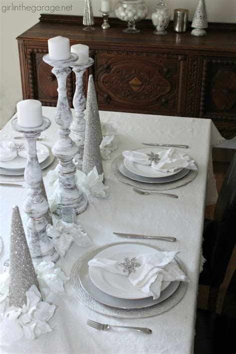 white  silver holiday tablescape girl   garage