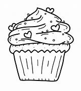 Muffin Cute Drawing Coloring Getdrawings Pages Cupcake sketch template