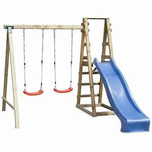 Balancoire Et Toboggan : balan oire portique enfant en bois avec 2 balan oires et ~ Melissatoandfro.com Idées de Décoration