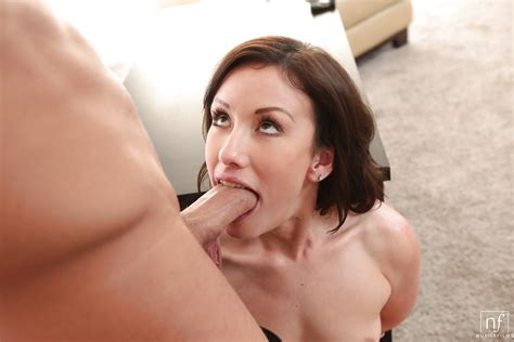 Small Boobed Brunette Jennifer White Giving Big Cock Oral