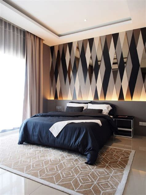 Masculine Office Wall Decor by Modern Bedroom Lighting With Feature Wall