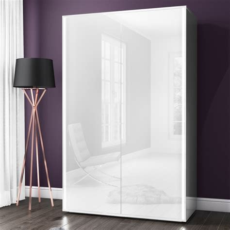 Two Door Wardrobes For Sale by Selena White High Gloss 2 Door Wardrobe With Led Light