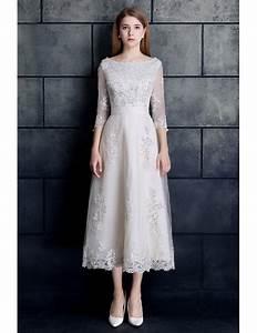 vintage tea length lace tulle a line white wedding dress 3 With 3 4 sleeve tea length wedding dress