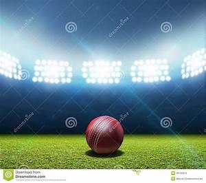 Cricket stadium and ball stock photo image
