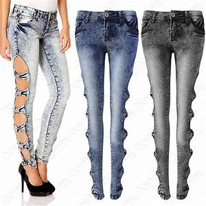 NEW LADIES ACID WASH CUT OUT SIDES BOW JEANS WOMEN STRETCH DENIM SKINNY BLEACH | eBay