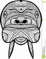 Walrus Coloring Antistress Drawn Hand Ferocious Line Figure sketch template