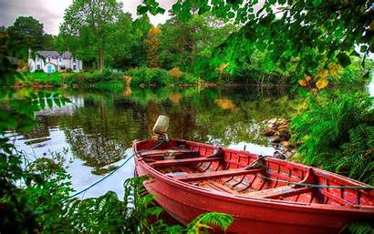 Lake Trees Boat Reflection Wallpapers Desktop Wallpapers13
