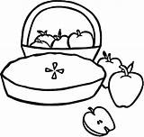 Apple Pie Coloring Pages Basket Printable Fruit Orchard Drawing Apples Print Template Empty Sheet Sketch Simple Getcolorings Getdrawings sketch template