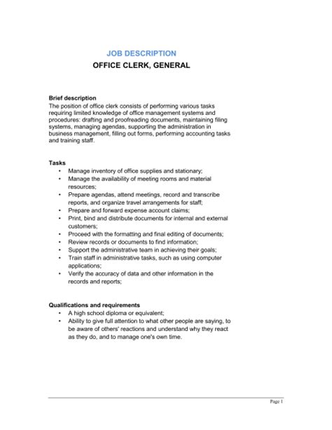 General Office Duties Resume by Office Clerk General Description Template Sle Form Biztree