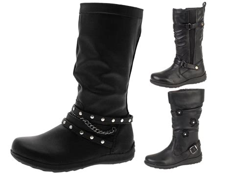 Knee Boots : Girls Faux Leather Knee High Boots Biker Riding Stretch